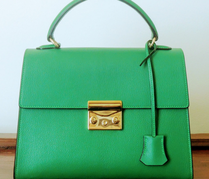 Custom made green leather satchel made in Italy