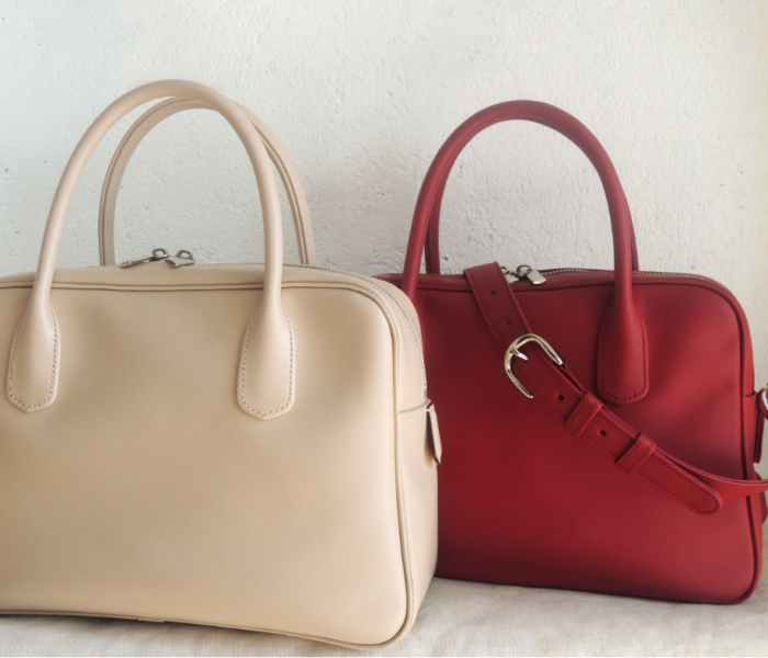 Custom made leather cross body handbag made in Italy